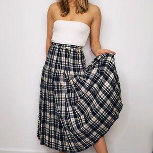 VINTAGE PENDELTON | Wool Pleated Plaid Midi Skirt